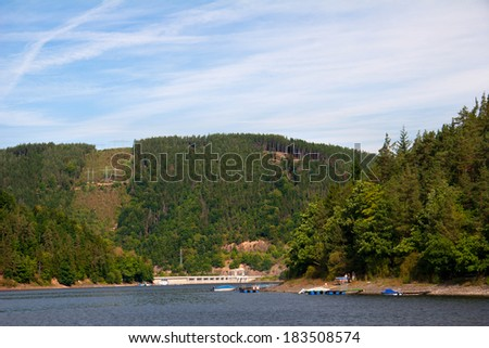 on the Hohenwarte dam in Thuringia - one of the largest reservoirs in Germany - stock photo