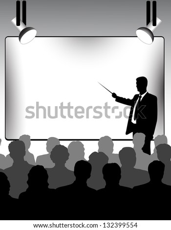 on the image are presented the businessman holds presentation