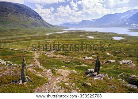 On the Kungsleden in Northern Sweden - stock photo
