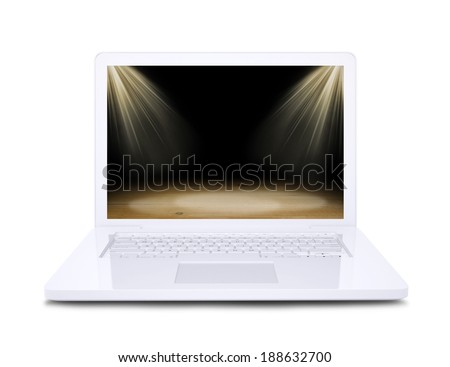 On the laptop screen shows wooden floor floodlit. White background