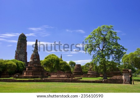 On  the morning time at Ayutthaya Historical Park ,Thailand - stock photo