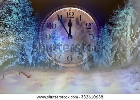 On the old clock 5 minutes to midnight and winter forest, digitally modified double exposure - stock photo