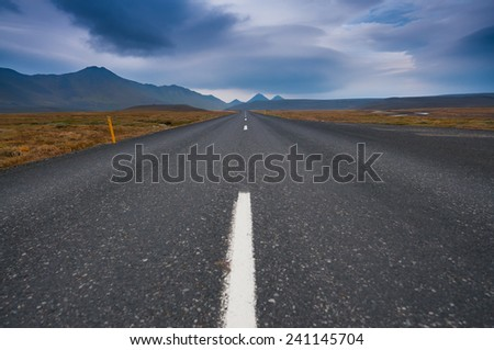 On the open road in Iceland - stock photo