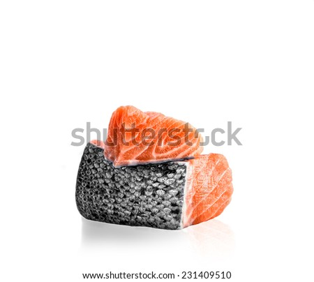 on the photo   two portions of  fish a salmon - stock photo