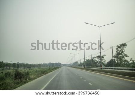 On the quiet road  - stock photo