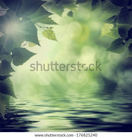 On the river. Overcoast summer backgrounds with faded colors - stock photo