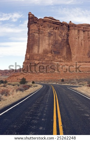 On the road through Arches National Park - stock photo