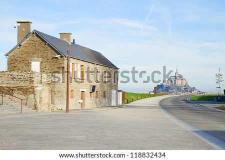 on the road to Mont Saint Michel  , France - stock photo