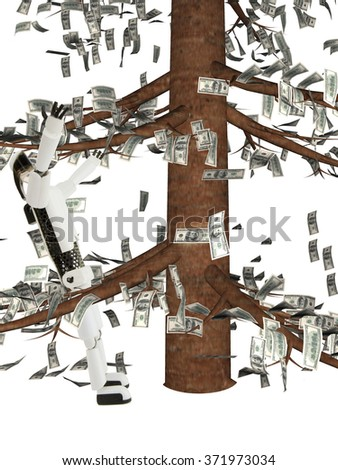 on the robot hundred dollar notes fall and it derives pleasure; the robot and monetary tree are located on a white background - stock photo