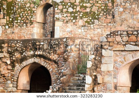On the ruins of the Purana Qila or Old Fort New Delhi, India, South East Asia - stock photo