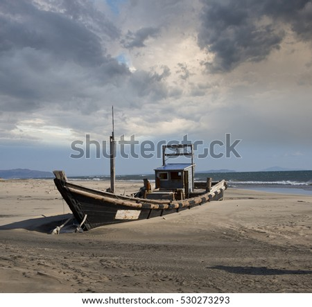 On  the  sandy  shore  of  the  boat  for  fishing