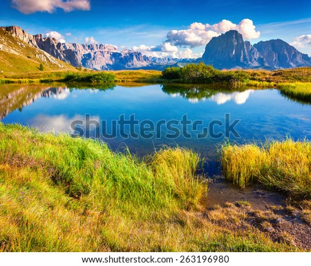 on the Sassolungo (Langkofel) and Sella group, valley Gardena. National Park Dolomites, South Tyrol. Location Ortisei, S. Cristina and Selva, Italy, Europe.  - stock photo