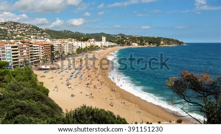 On the seafront of the Costa Brava in Lloret de Mar, Spain - stock photo