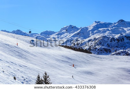 On the slopes of the ski resort of Meriber. France - stock photo