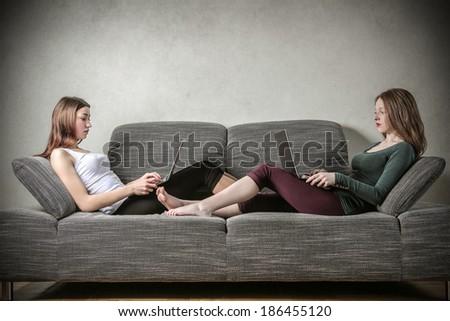 on the sofa - stock photo