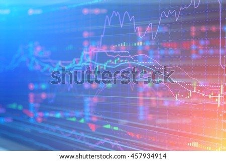 On the stock market, the share price falls. Falling prices of securities. Loss of assets in equities stock. - stock photo