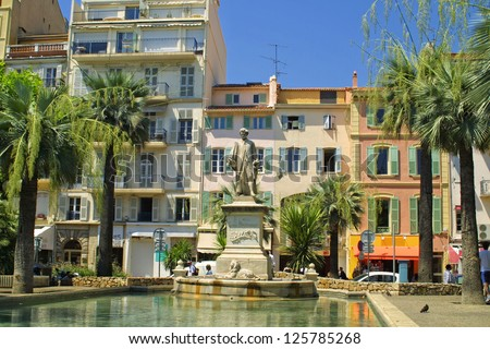 On the street of Cannes city, France - stock photo