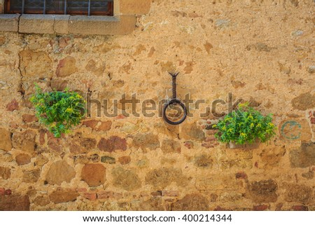 On the streets of the ancient Pienza, Italy - stock photo