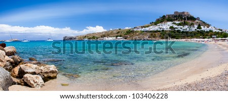 On the stunning beach at Lindos on the Greek Island of Rhodes - stock photo