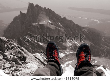 On the summit, Grand Teton Wyoming 13770' - stock photo