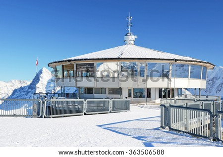 On the top of Schilthorn mountain, Switzerland - stock photo