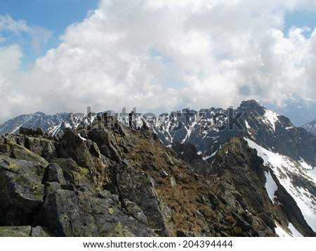 On the top of Svinica peak in High Tatras,Slovakia/Poland - stock photo