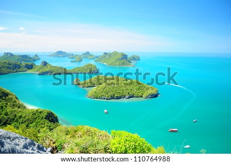 On the top of view point on Vua Ta Lub Island (Moo Koh Ang Tong National Park) 500 Meters far form the beach. - stock photo