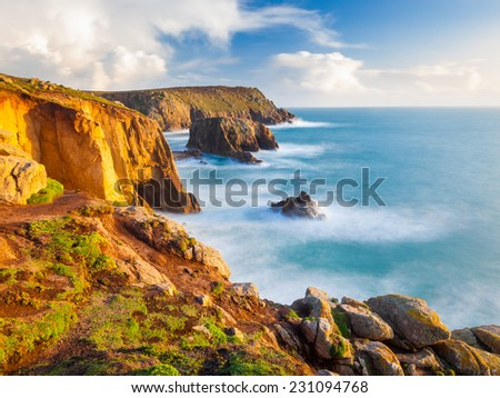 On the towering granite cliffs at Lands End Cornwall England UK Europe