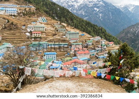 On the way to Everest Base Camp: Namche Bazaar sherpa village in Nepal. - stock photo