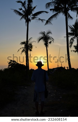On the way to the beach of the Bay of Bengal. - stock photo