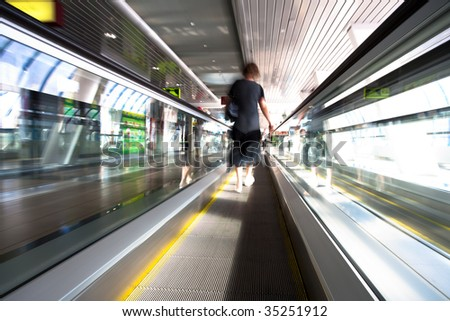 On the way to the Moscow city by bridge ?Bagration? staying on moving escalator - stock photo