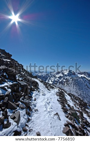 On the way to the mt Toubkal. Highest mountain in the North Africa. Morocco. High-Atlas. - stock photo