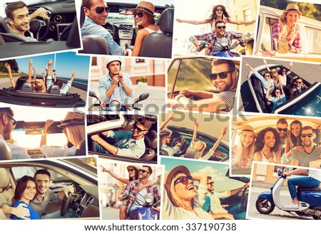 On the wheels. Collage of diverse young people in the car or mopeds expressing positive emotions while riding  - stock photo