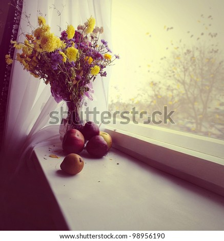 on the windowsill is a vase of flowers and apples, fall outside - stock photo