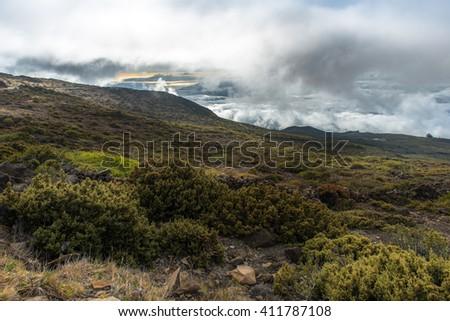 On top of Haleakala Volcano National Park in Maui Hawaii - stock photo