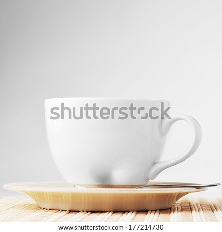 On  wooden napkin cup with tea  - stock photo