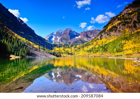 Once in a lifetime view of Maroon Bells, Colorado. - stock photo