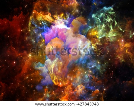 Once Upon a Space series. Backdrop of fractal clouds on the subject of Universe, cosmos, astronomy, science and education