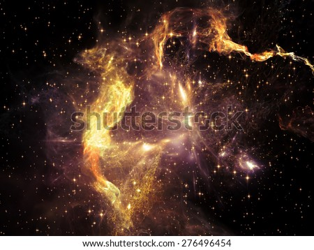 Once Upon a Space series. Creative arrangement of fractal clouds as a concept metaphor on subject of Universe, cosmos, astronomy, science and education - stock photo