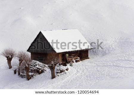 once upon a time there was a small house from a winter fairytale - stock photo