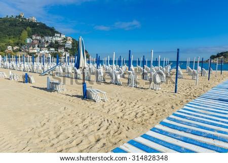 Ondarreta beach in a sunny day, San Sebastian (Spain) - stock photo