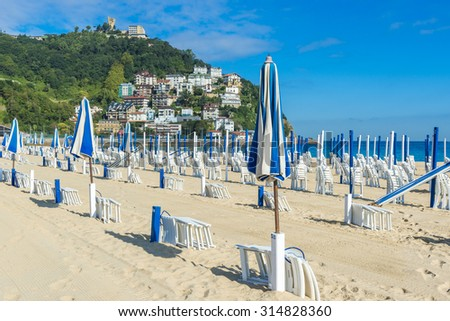Ondarreta beach in a sunny day, San Sebastian (Spain) - stock photo