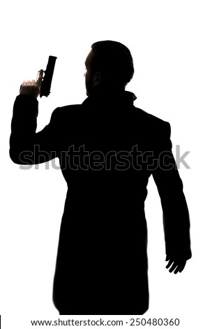 One action hero man's silhouette with a handgun.