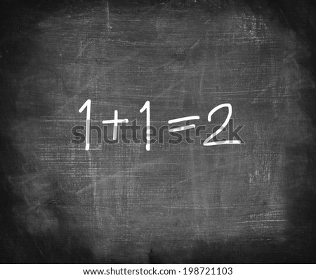 One add one on chalkboard , simple math addition