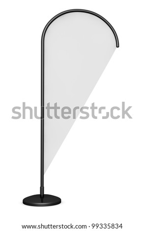 one advertising flag, also called beach flag, ready for custom text or images (3d render) - stock photo