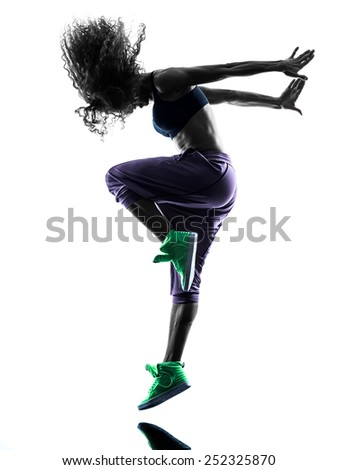 one african woman in studio silhouette isolated on white background - stock photo