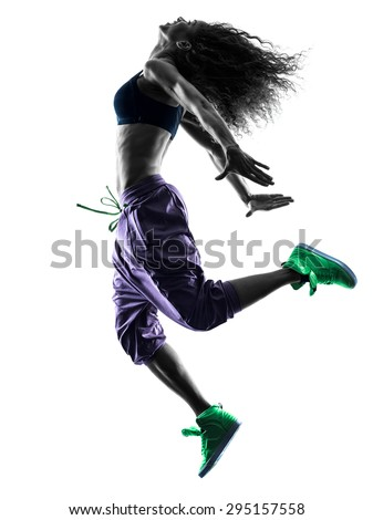 one african woman woman dancer dancing exercises  in studio silhouette isolated on white background - stock photo