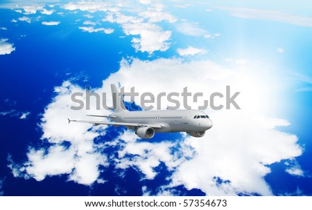 One airliner in blue sky - stock photo