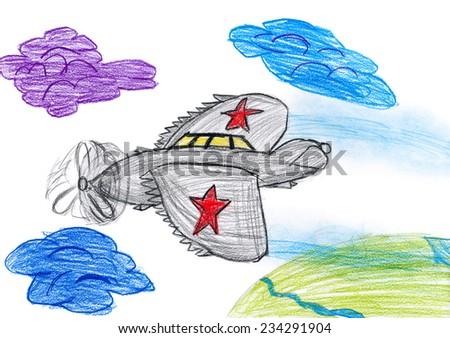 one airplane. children drawing - stock photo