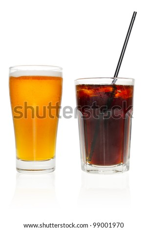 One alcoholic drink and one alcohol-free drink, isolated on white background.